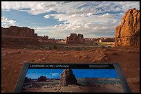 Intepretative sign, Courthouse towers. Arches National Park, Utah, USA. (color)