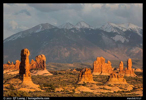 Fins and La Sal mountains. Arches National Park (color)