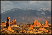 Fins and La Sal mountains. Arches National Park, Utah, USA. (color)