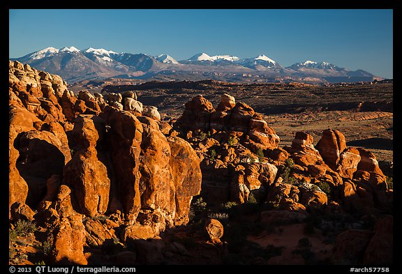 Fiery Furnace and La Sal Mountains. Arches National Park (color)