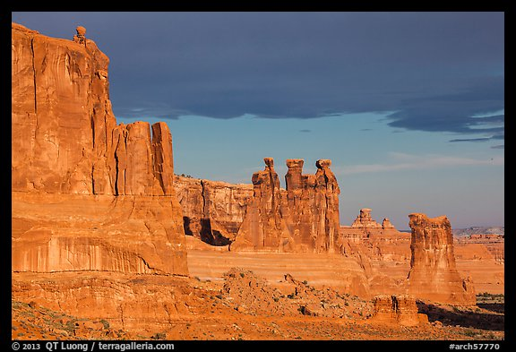 Three Gossips and Courthouse towers, early morning. Arches National Park (color)