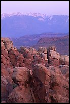 Fiery Furnace and La Sal Mountains at sunset. Arches National Park, Utah, USA.