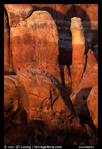 Fiery Furnace rock formations at sunset. Arches National Park, Utah, USA.