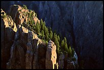 island peaks at sunset, North rim. Black Canyon of the Gunnison National Park, Colorado, USA.