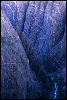 Depths of the canyon from Chasm view, North rim. Black Canyon of the Gunnison National Park, Colorado, USA. (color)