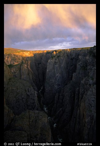 Narrows seen from Chasm view at sunset, North rim. Black Canyon of the Gunnison National Park, Colorado, USA.