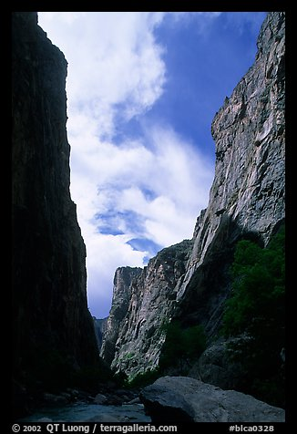 View of canyon walls from  Gunisson river. Black Canyon of the Gunnison National Park (color)