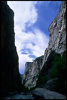 View of canyon walls from  Gunisson river. Black Canyon of the Gunnison National Park, Colorado, USA. (color)