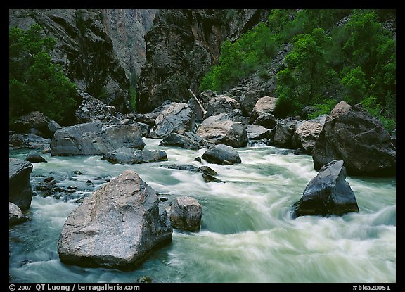 Boulders and rapids of  Gunisson River. Black Canyon of the Gunnison National Park (color)
