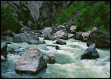Boulders and rapids of  Gunisson River. Black Canyon of the Gunnison National Park, Colorado, USA.