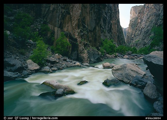 Gunisson River flowing beneath steep canyon walls. Black Canyon of the Gunnison National Park (color)