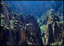 Spires and canyon walls. Black Canyon of the Gunnison National Park, Colorado, USA. (color)