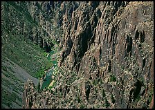 Rock spires and Gunisson River from above. Black Canyon of the Gunnison National Park, Colorado, USA.