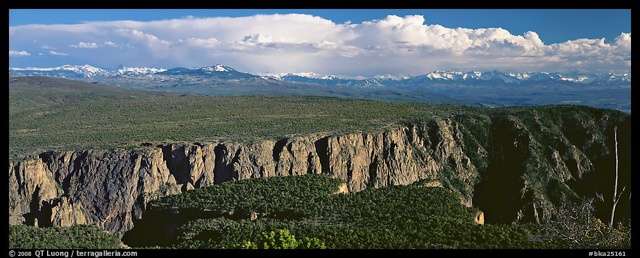 Plateau cut by deep canyon. Black Canyon of the Gunnison National Park (color)