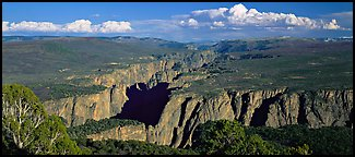 Black Canyon seen from a distance. Black Canyon of the Gunnison National Park (Panoramic color)