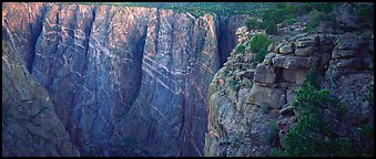 Canyon walls with crystaline striations. Black Canyon of the Gunnison National Park (Panoramic color)