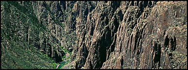Spires and vertical rock walls. Black Canyon of the Gunnison National Park (Panoramic color)