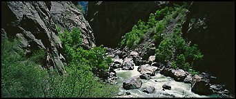 Gorge bottom and Gunnisson River. Black Canyon of the Gunnison National Park, Colorado, USA.