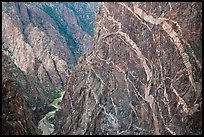 Sheer cliff with flourishes of crystalline pegmatite. Black Canyon of the Gunnison National Park ( color)