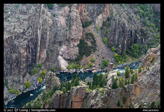 Gunnison River in autumn from above. Black Canyon of the Gunnison National Park (color)