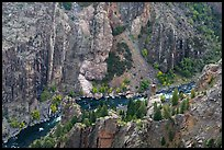 Gunnison River in autumn from above. Black Canyon of the Gunnison National Park, Colorado, USA. (color)