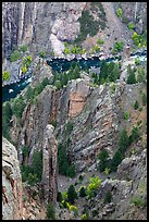 Crags and Gunnison River seen from above. Black Canyon of the Gunnison National Park, Colorado, USA. (color)