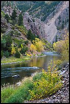 Gunnison river in autumn, East Portal. Black Canyon of the Gunnison National Park, Colorado, USA. (color)