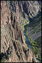 Cliffs and river in autumn. Black Canyon of the Gunnison National Park, Colorado, USA. (color)