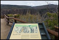 Interpretative sign. Black Canyon of the Gunnison National Park, Colorado, USA. (color)