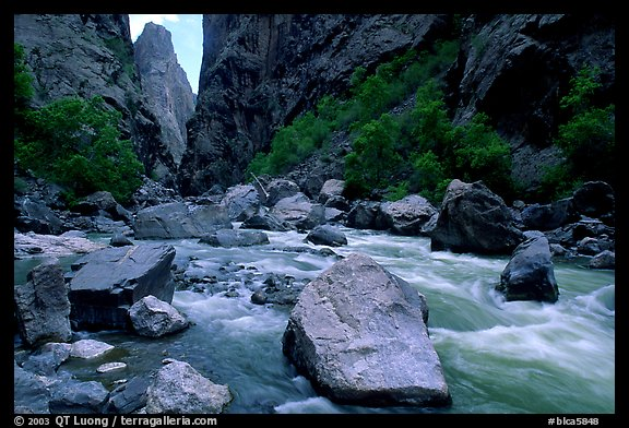 Boulders in  Gunisson river near the Narrows. Black Canyon of the Gunnison National Park (color)