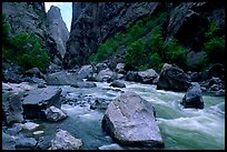 Boulders in  Gunisson river near the Narrows. Black Canyon of the Gunnison National Park, Colorado, USA.