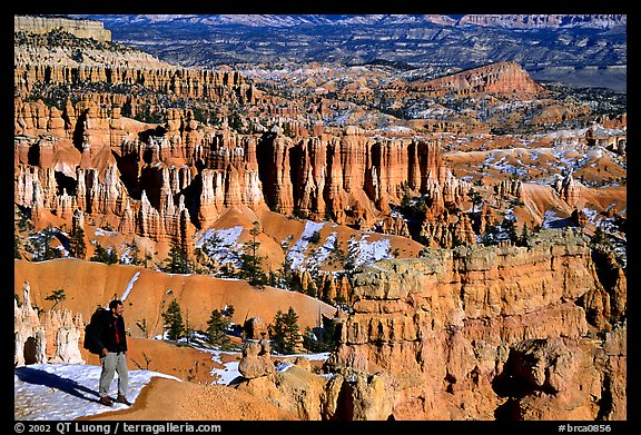 Hiker with panoramic view on Navajo Trail. Bryce Canyon National Park (color)
