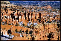 Hiker with panoramic view on Navajo Trail. Bryce Canyon National Park, Utah, USA. (color)