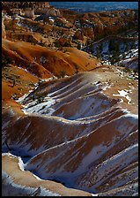 Hill ridges and snow in Bryce Amphitheatre. Bryce Canyon National Park, Utah, USA.