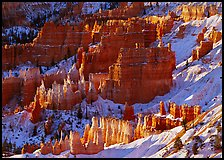 Rock spires and snow seen from Sunrise Point in winter, early morning. Bryce Canyon National Park, Utah, USA.