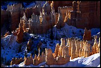 Hoodoos and shadows from Sunrise Point, early winter morning. Bryce Canyon National Park, Utah, USA.