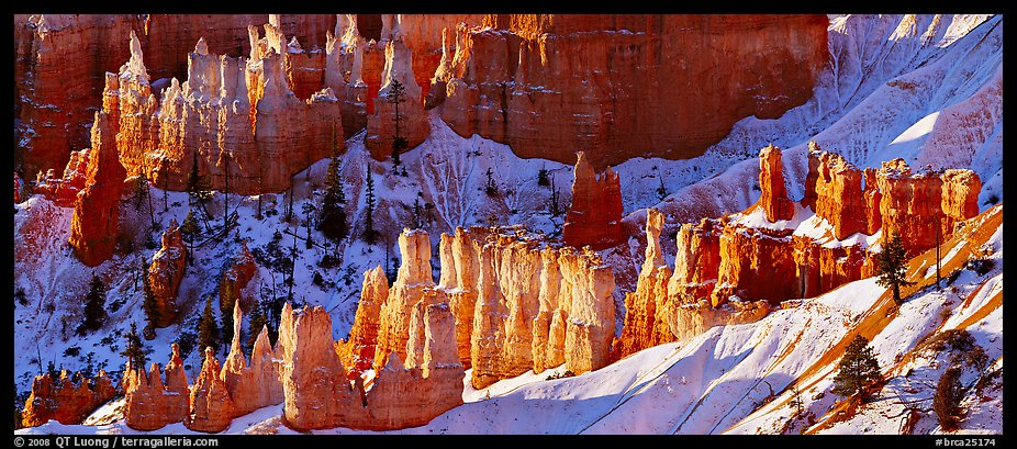 Hoodoos and snowy slopes, early morning. Bryce Canyon National Park (color)