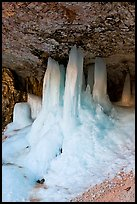 Thick ice stalictites in Mossy Cave. Bryce Canyon National Park, Utah, USA. (color)