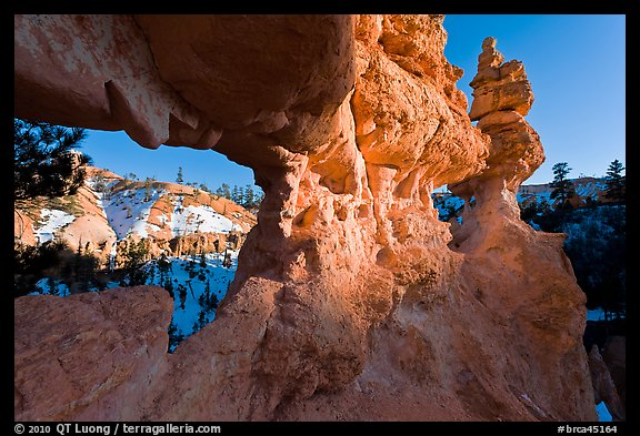 Water Canyon from hoodoo window. Bryce Canyon National Park, Utah, USA.