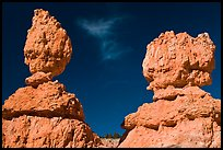 Lumpy and bulging profiles of hooodos. Bryce Canyon National Park, Utah, USA. (color)