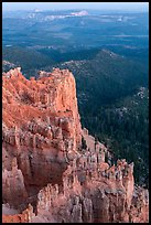 Rock formations and forest near Yovimpa Point. Bryce Canyon National Park, Utah, USA. (color)