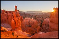 Thor Hammer and rising sun. Bryce Canyon National Park ( color)