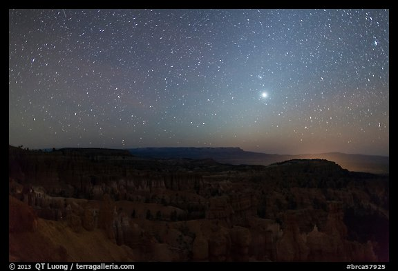 Bryce Amphitheater under starry sky at night. Bryce Canyon National Park (color)