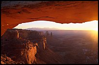 Mesa Arch at sunrise, Island in the sky. Canyonlands National Park, Utah, USA. (color)