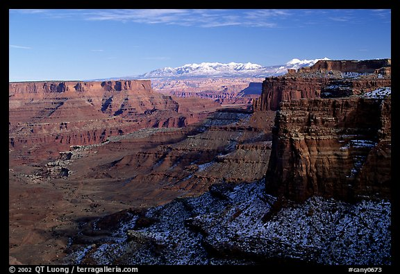 Buck Canyon overlook and La Sal mountains, Island in the sky. Canyonlands National Park (color)