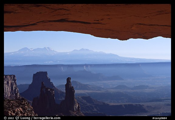 Mesa Arch, pinnacles, La Sal Mountains, early morning, Island in the sky. Canyonlands National Park (color)