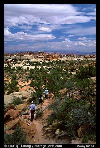 Hikers on the Chesler Park trail, the Needles. Canyonlands National Park (color)
