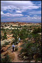 Hikers on the Chesler Park trail, the Needles. Canyonlands National Park, Utah, USA. (color)