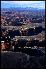 Monument basin from Grand View Point, Island in the Sky, late afternoon. Canyonlands National Park, Utah, USA. (color)