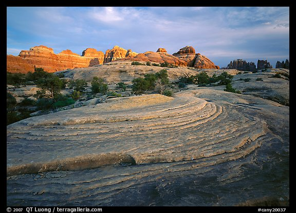 Rock swirls and spires at sunset, Needles District. Canyonlands National Park (color)